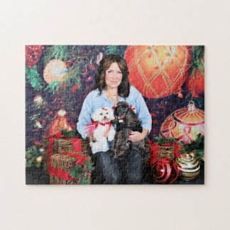 Christmas - Amiche Poodle - Tinkerbell Maltese Jigsaw Puzzle