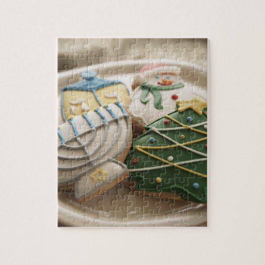 Christmas and Hanukkah cookies on plate, Jigsaw Puzzle