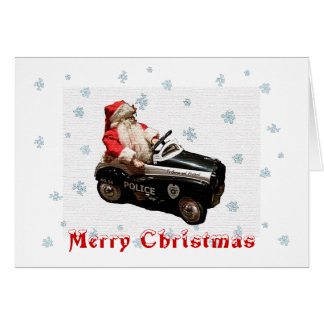 Christmas and Santa Police Car Card