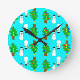 christmas and snowman.ai round clock