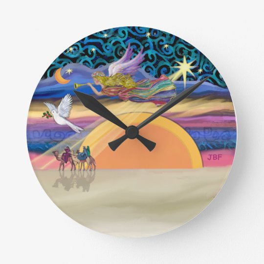Christmas Angel - Add Your Pet Round Clock