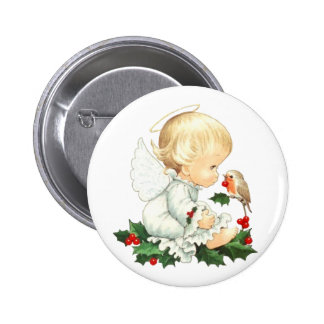 Christmas Angel and Robin Christmas Wishes 2 Inch Round Button