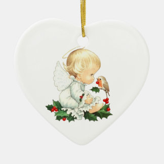 Christmas Angel and Robin Christmas Wishes Ceramic Heart Ornament