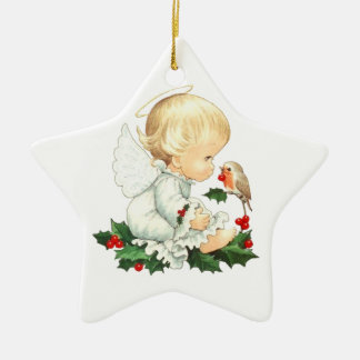 Christmas Angel and Robin Christmas Wishes Ceramic Star Ornament