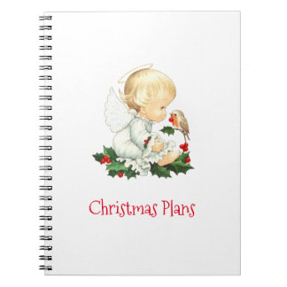Christmas Angel and Robin Christmas Wishes Notebooks