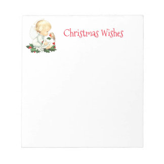 Christmas Angel and Robin Christmas Wishes Notepad