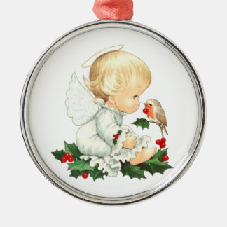 Christmas Angel and Robin Christmas Wishes Silver-Colored Round Ornament