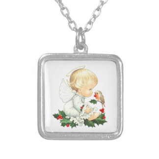 Christmas Angel and Robin Christmas Wishes Silver Plated Necklace