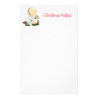 Christmas Angel and Robin Christmas Wishes Stationery