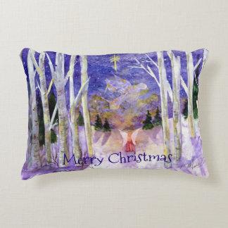 Christmas Angel & Animals Watercolor Reversable Decorative Pillow