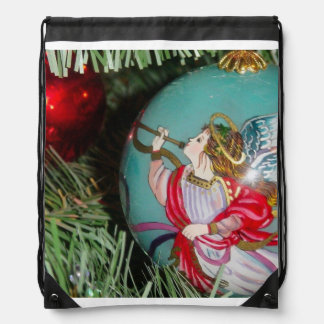 Christmas angel - christmas art -angel decorations drawstring bag