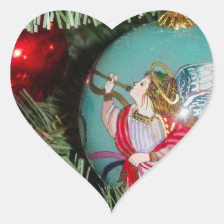 Christmas angel - christmas art -angel decorations heart sticker
