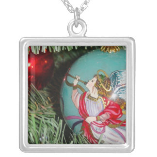 Christmas angel - christmas art -angel decorations silver plated necklace
