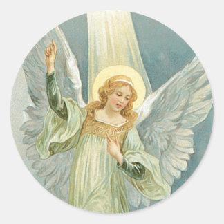 Christmas Angel Classic Round Sticker