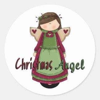 Christmas Angel D1 Design Classic Round Sticker