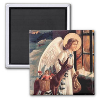 Christmas Angel looking through a window Fridge Magnets