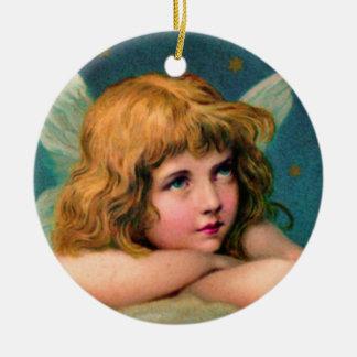 Christmas Angel Round Ceramic Ornament