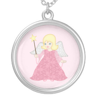 Christmas Angel Pendant Cute Pink Art Necklace