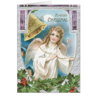 Christmas Angel ringing a bell Greeting Card