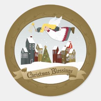 Christmas Angel Round Stickers