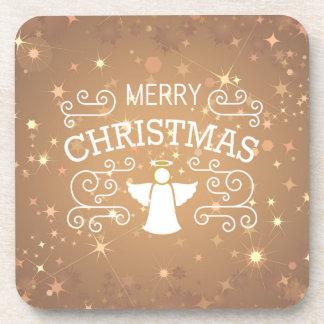 Christmas angel, sparkling stars coaster