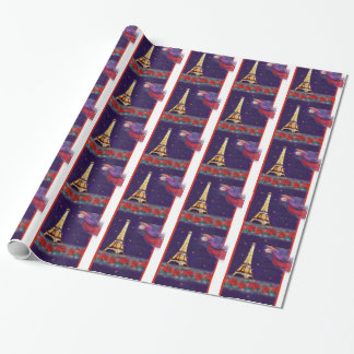 christmas angel twinkling Eiffel tower Wrapping Paper