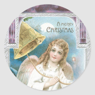 Christmas Angel with Bell Classic Round Sticker