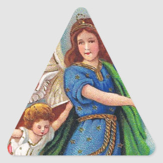Christmas_angel_with_cross_1914.jpg Triangle Sticker