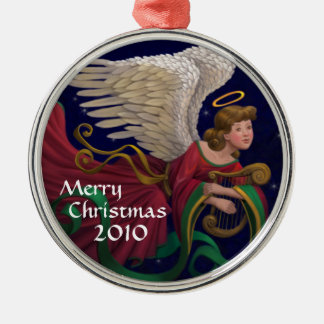 Christmas Angel With Harp Round Ornament