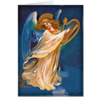 Christmas Angel with Harp Vintage Image Card