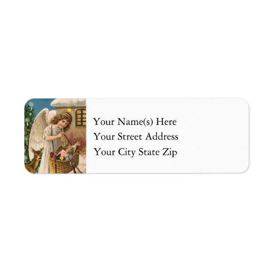 Christmas Angel With Toy Vintage Return Address Label