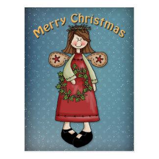 Christmas Angel with wreath Postcard