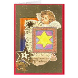 CHRISTMAS ANGEL WITH YELLOW WATER COLOR STAR on Card
