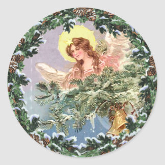CHRISTMAS ANGEL & WREATH by SHARON SHARPE Classic Round Sticker