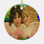 Christmas Angels Ornament Round Ceramic Ornament