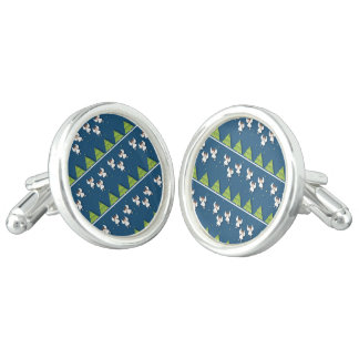 Christmas angels pattern cuff links