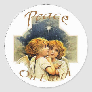 Christmas Angels-Peace on Earth Classic Round Sticker