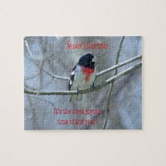 Christmas Animal Bird Red-breasted Grosbeak Jigsaw Puzzle
