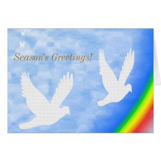 Christmas Animal Birds Flying Above A Rainbow Card
