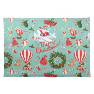 Christmas, animals, trees, red Tartan pattern Place Mats