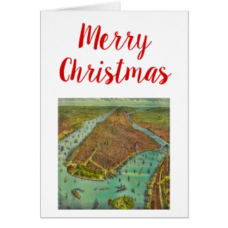 Christmas Antique New York City Map Card