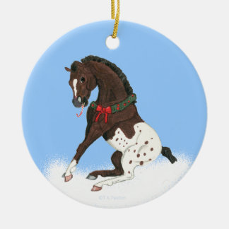 Christmas Appaloosa Colt Round Ceramic Ornament