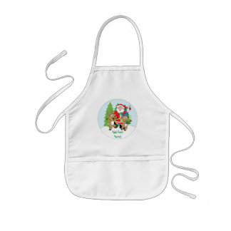 "Christmas Apron for Kids Personalize ""Santa Claus"""