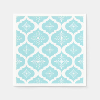 Christmas Aqua Blue Snowflakes Lattice Pattern Disposable Napkin