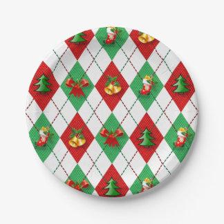 Christmas Argyle Designs Paper Plates