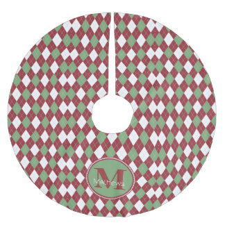 Christmas Argyle Monogram Tree Skirt