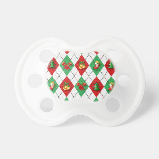 Christmas Argyle Pacifiers