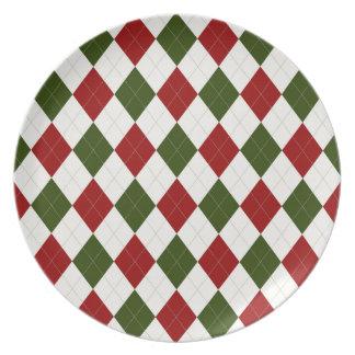 Christmas Argyle pattern Plate