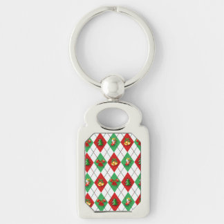 Christmas Argyle Silver-Colored Rectangle Keychain