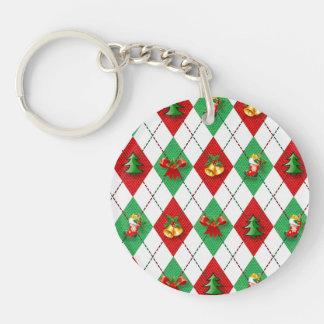 Christmas Argyle Single-Sided Round Acrylic Keychain